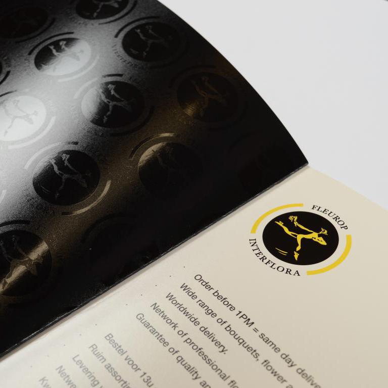 Fleurop brochure met dripoff lak